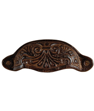 Skålhandtag mörk järn antik stil ornament antikfärgat lantlig stil