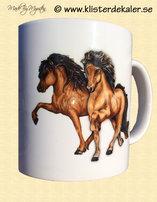 Mug with Icelandic horse design.