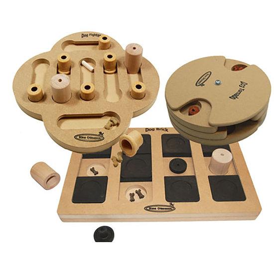 3 IQ attivazione del cane giocattoli, legno. Grado di difficoltá 2, advanced, Eco-Friendly material.