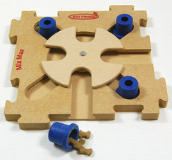 MixMax Puzzle B, blue, wood. Level 2. Natural, Eco-Friendly material