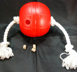 Dog T-ball. Treat toy with a rope. Level 2