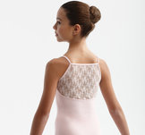 Dansdräkt med spets på ryggen i rosa, svart & vitt