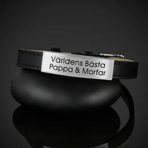 """Läderarmband """"Världens Bästa Pappa & Morfar"""""""
