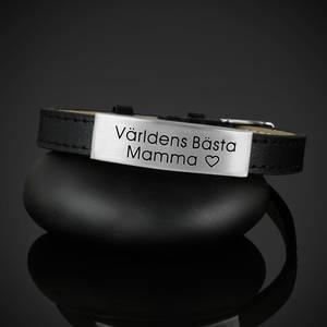 """Läderarmband """"Världens Bästa Mamma"""""""