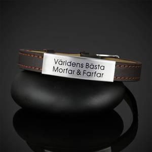 """Läderarmband """"Världens Bästa Morfar & Farfar"""""""