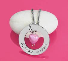 Personligt Halsband 32mm med pärlhjärta