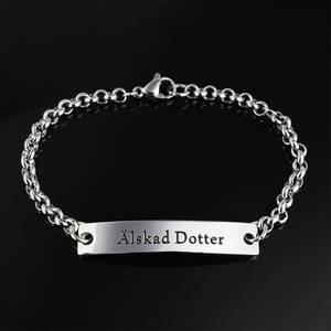 """ERBJUDANDE! Armband bricka stål """"Älskad Dotter"""""""