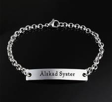 """Armband bricka stål """"Älskad Syster"""""""