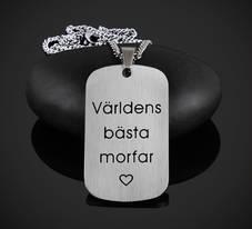 """""""Morfar"""" Stor bricka Halsband el. Nyckelring"""