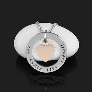 Personligt Halsband el Nyckelring med rosehjärta & 32mm ring