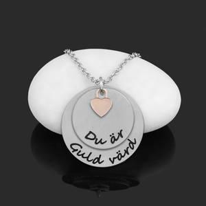 """Halsband Plättar med litet hjärta """"Du är Guld värd"""""""