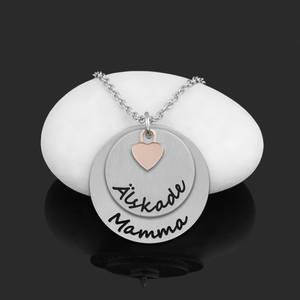 """Halsband Plättar med litet hjärta """"Älskade Mamma"""""""