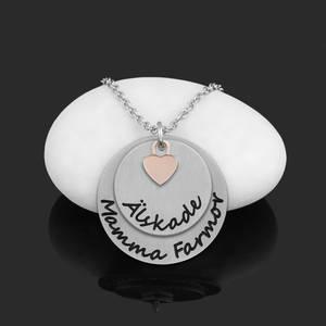 """Halsband Plättar med litet hjärta """"Älskade Mamma Farmor"""""""