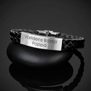 """Armband flätat läder """"Världens Bästa Pappa"""""""