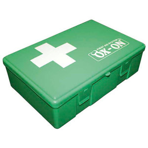 First aid kit in plastic box