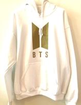 BTS Hoodie - Vit med guld logo