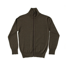Turtle Neck Full Zip Plain - Olive