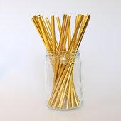 Sugrör - Metallic - Guld