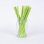 Sugrör - Limegröna med vita prickar