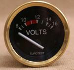 Voltmätare 8-16 volt 52mm svart, mässin
