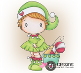 C.C. Designs Swiss Pixie Christmas Rose Rubber Stamp