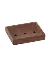 Tvålhållare i Värmebehandlat Trä med 3 st Hål & Gummifötter - Brun