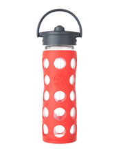 Lifefactory Straw Cap Bottle | Vattenflaska med Sugrör - 475 ml, Poppy (röd)