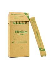 Ergonomisk Tandborste Bambutandborsten Vuxen - Medium Borst, 12-pack
