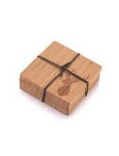 Glasunderlägg i Bambu - Hjort, 4-pack