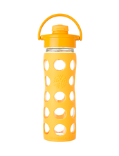 Vattenflaska Glas Flip Cap Lifefactory - 475 ml, Collegiate Yellow