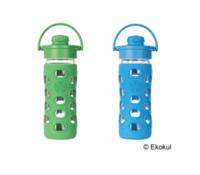 Lifefactory flip-top vattenflaska i glas, 350 ml
