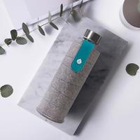 Vattenflaska glas 1 liter Textil turkos