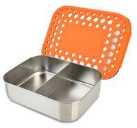 Matlåda rostfritt stål två fack, orange