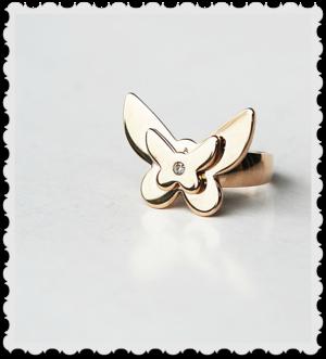 Ring som en fjäril med bling  i rose stål storlek M