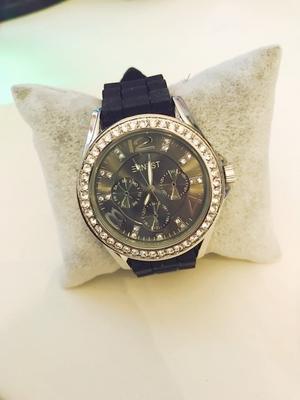 Bling klocka med svart armband