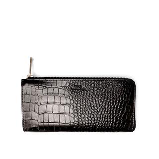 SDLR Laura - Plånbok i genuint läder, Black Croc