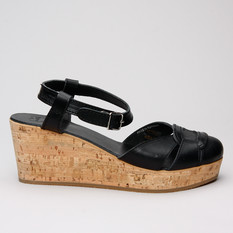 Swedish Hasbeens Swedish Cork Wedge Blk