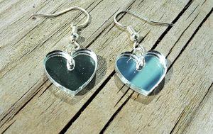 KIT till örhängen med hjärtan 17mm spegelplexi silver