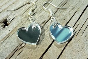KIT till örhängen med hjärtan på sned 17mm spegelplexi silver
