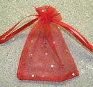 Organzapåsar röda med paljetter 10x12cm
