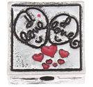 Metallpärla LOVE med emalj 16mm