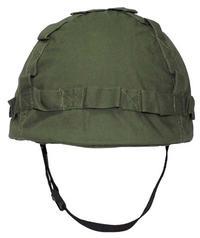 Militärhjälm med hjälmskydd Olive