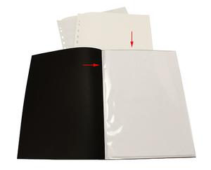 Displayficka A4 0,35 svart pp med 10 st insvetsade fickor(öppen kort+1/3 långsida)