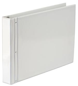Pärm gaffel helrygg A3L PVC vit med ficka på framsida och rygg