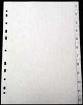 Register A4 PP vita 1-12 svart pag. Levereras individuellt packade i påse inkl. försättsblad i papp