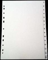 Register A4 PP vita 1-15 svart pag. Levereras individuellt packade i påse inkl. försättsblad i papp