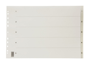 Register A3 liggande PP transp. 1-5 svart pag. 0,22 inkl. försättsblad
