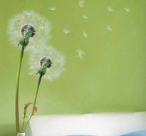 Väggdekor -Maskrosor i vind 66 x 44 cm (höjd efter montering ca 150 cm)