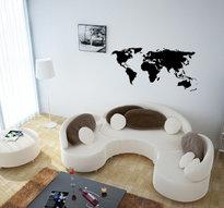 Väggdekor -Världskarta 55 x 130 cm, svart dekor