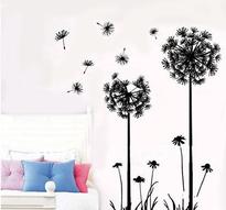 Väggdekor -Maskrosor i vind 70 x 50 cm, svart dekor